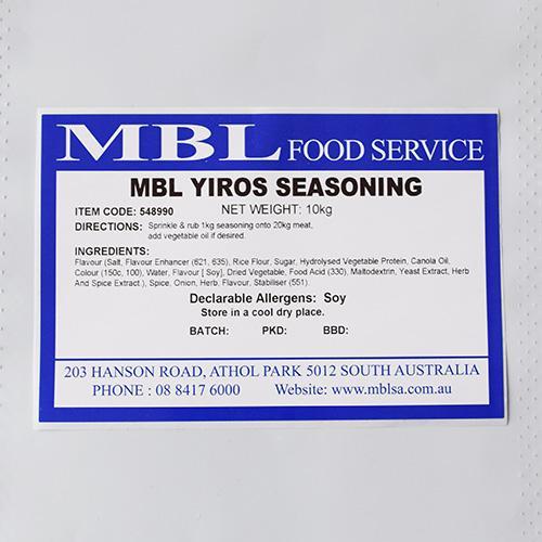 SEASONING MBL YIROS 10KG - Food Ingredients, Marinades & Seasonings
