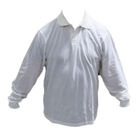 TOP L/SLEEVE POLY/COT WHT S9 2XL - Click for more info