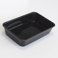 CONTAINER M/W RECT BLACK 500ml (500) - Click for more info