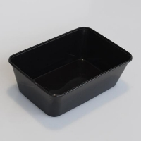 CONTAINER M/W RECT BLACK 750ml (500) - Click for more info